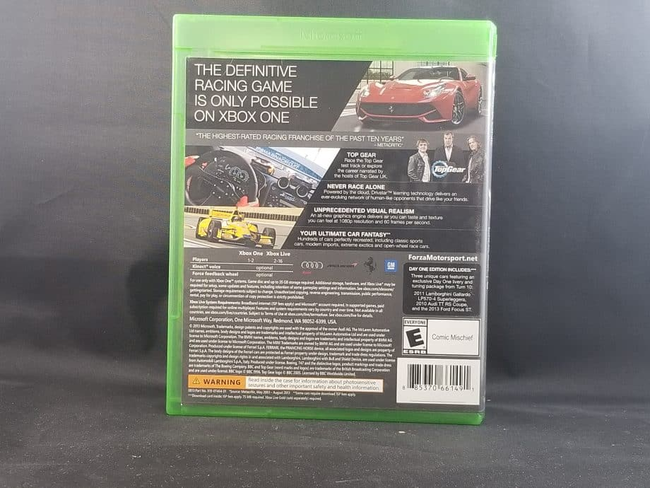 Forza Motorsport 5 Day One Edition Back