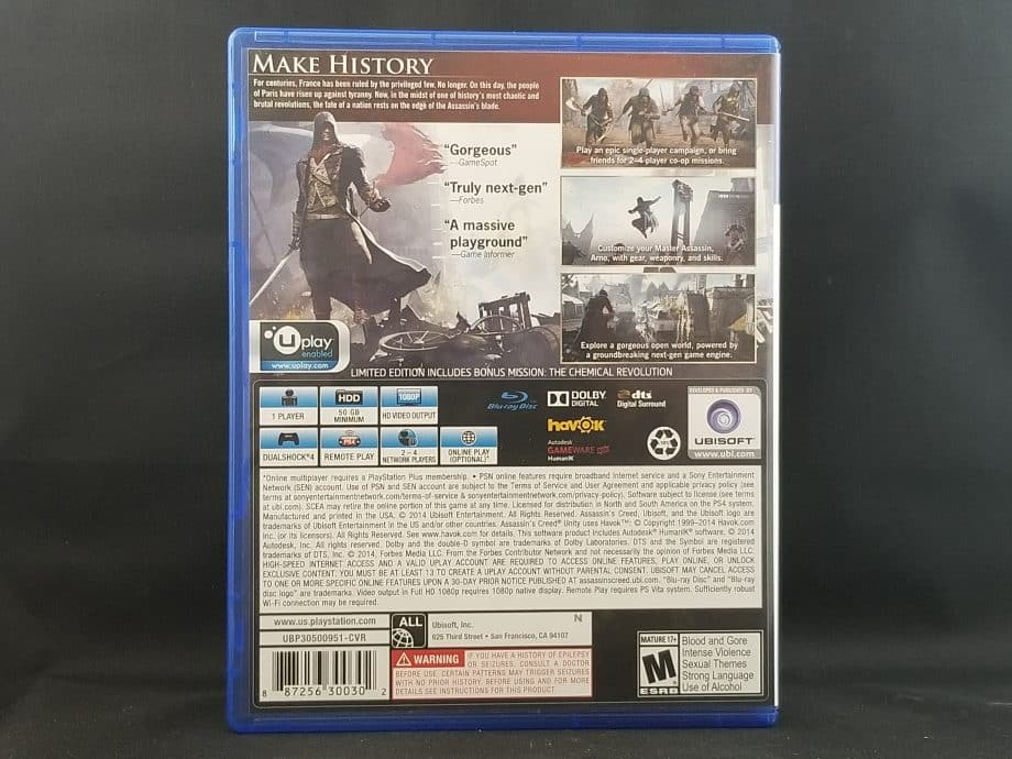 Assassin's Creed Unity Limited Edition Back